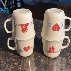 4 Corelle Hometown 10 oz. Mugs